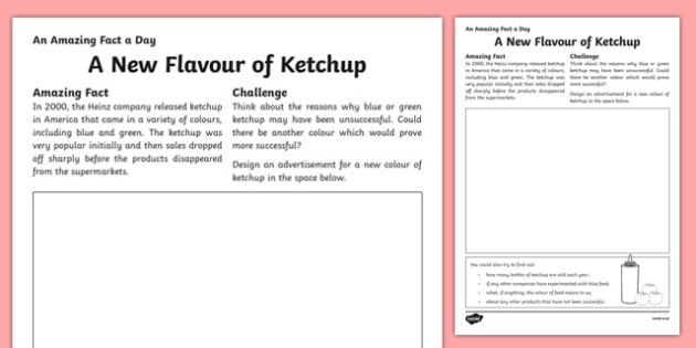 A New Flavour of Ketchup Activity Sheet, worksheet
