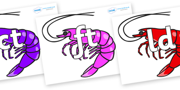 Final Letter Blends on Shrimps - Final Letters, final letter, letter blend, letter blends, consonant, consonants, digraph, trigraph, literacy, alphabet, letters, foundation stage literacy