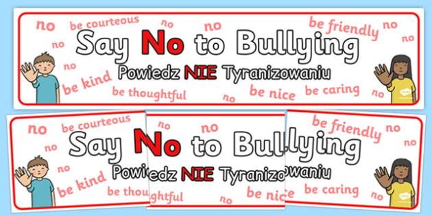 Say No To Bullying Display Banner Polish Translation - polish, say, no, bullying, display, banner