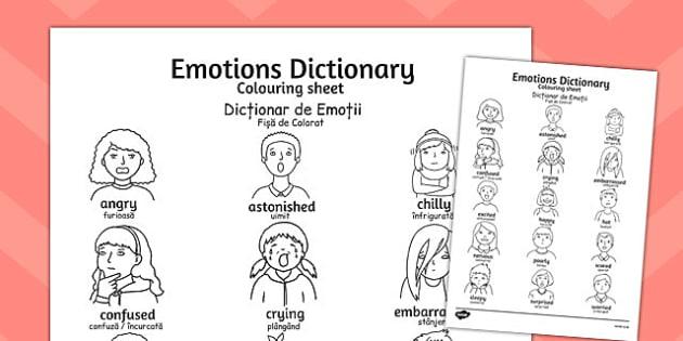 Emotions Dictionary Colouring Sheet Romanian Translation - romanian