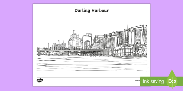 Darling Harbour Colouring Page-Australia - Sydney Australia, Australia, darling harbour, colouring, mindfulness