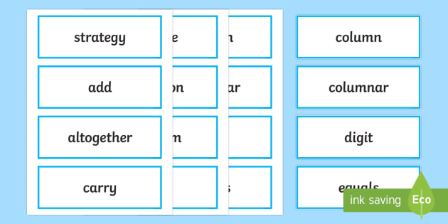 Year 4 2014 Curriculum Maths Vocabulary Cards Add and Subtract