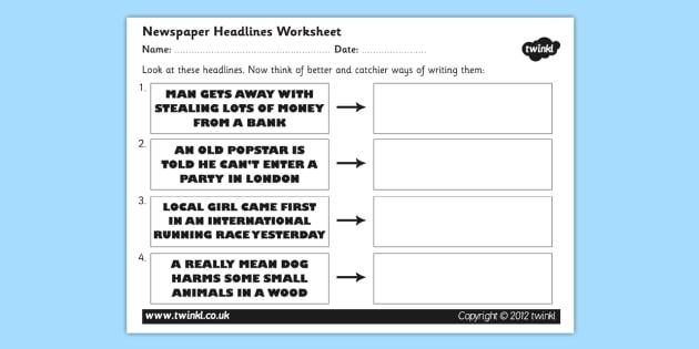 How to write newspaper headlines grammar