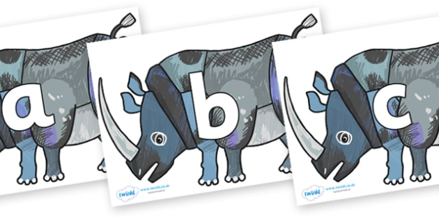 Phoneme Set on Rhinoceros to Support Teaching on The Bad Tempered Ladybird - Phoneme set, phonemes, phoneme, Letters and Sounds, DfES, display, Phase 1, Phase 2, Phase 3, Phase 5, Foundation, Literacy