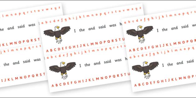 Alphabet Strips (Eagle) - Alphabet, Learning letters, Writing aid, Writing Area, eagle, bird