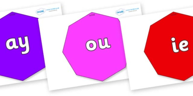 Phase 5 Phonemes on Octagons - Phonemes, phoneme, Phase 5, Phase five, Foundation, Literacy, Letters and Sounds, DfES, display