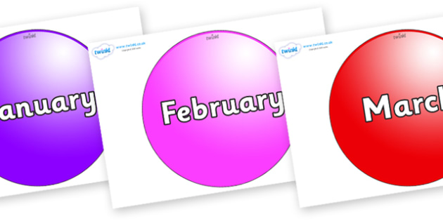 Months of the Year on Spheres - Months of the Year, Months poster, Months display, display, poster, frieze, Months, month, January, February, March, April, May, June, July, August, September
