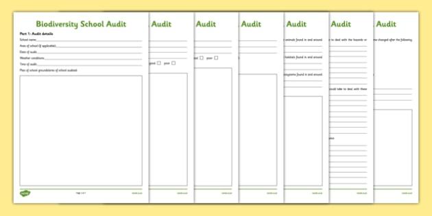 Biodiversity School Audit Activity Sheet - biodiversity, school, audit, activity sheet, action plan, green schools, worksheet