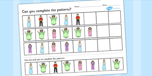 Cinderella Complete the pattern worksheets - cinderella, pattern