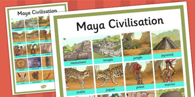 Maya Civilisation Word Grid - maya, word grid, vocabulary, mayan