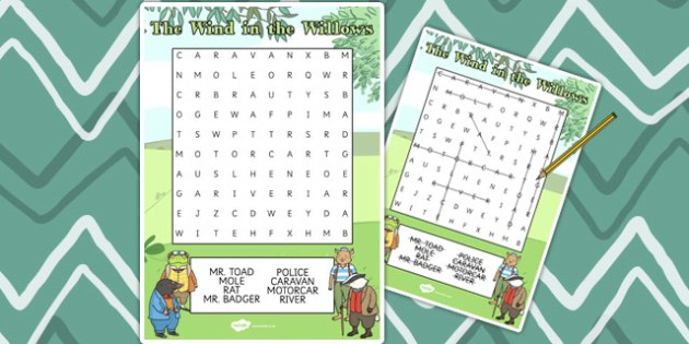 The Wind in the Willows Wordsearch - The Wind in the Willows