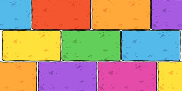Editable A4 Multicoloured Bricks - display, bricks, learning wall