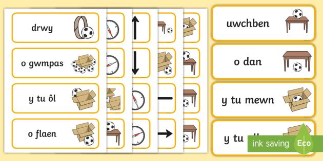 Cardiau Geiriau Iaith Leoliadol - Cardiau, Geiriau, Iaith, Lleoliadol, Llythrennedd, Positional, Language, Word, Cards, literacy,Welsh