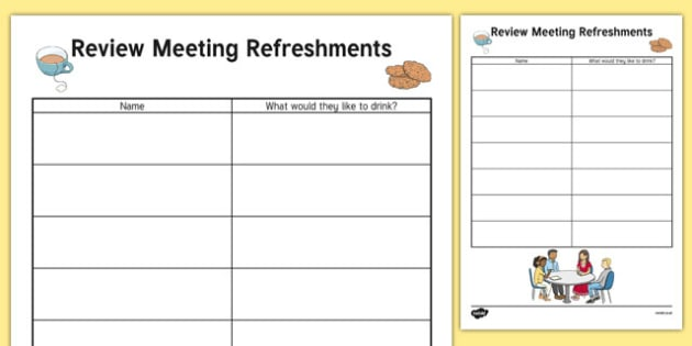 Person Centred Review Meeting Refreshment List - person centred review, meeting, refreshment list