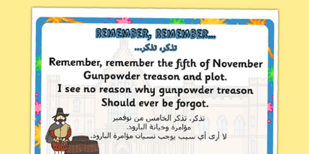 Remember, Remember Rhyme Display Poster Arabic Translation - arabic
