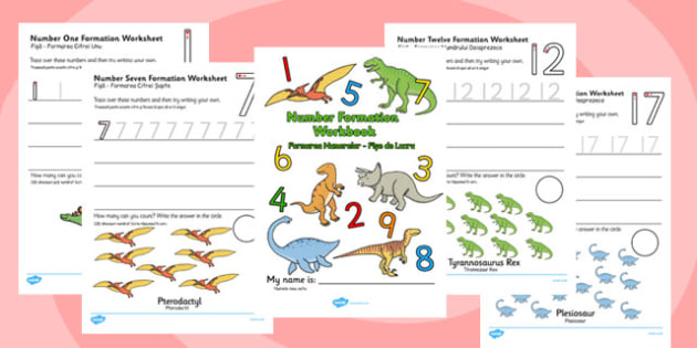 Number Formation Workbook Dinosaurs Romanian Translation - romanian, overwriting