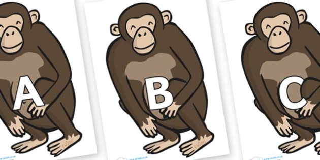 A-Z Alphabet on Chimps - A-Z, A4, display, Alphabet frieze, Display letters, Letter posters, A-Z letters, Alphabet flashcards