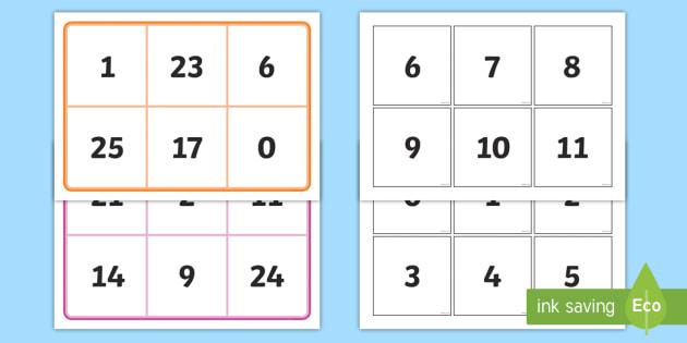 Number Bingo (0-30) - number game, bingo, 0-30, Number names, Number words, Numerals, Foundation Numeracy, Number recognition, Number flashcards