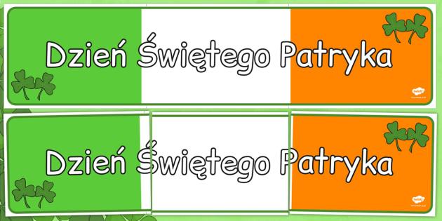 Plansza ze słownictwem Dzień św. Patryka po polsku - Irlandia