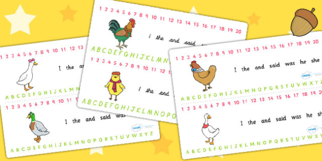 Chicken Licken Combined Number and Alphabet Strips - stories