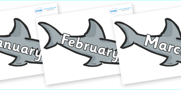Months of the Year on Sharks - Months of the Year, Months poster, Months display, display, poster, frieze, Months, month, January, February, March, April, May, June, July, August, September