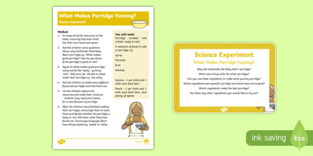 EYFS What Makes Porridge Yummy? Science Experiment and Prompt Card Pack