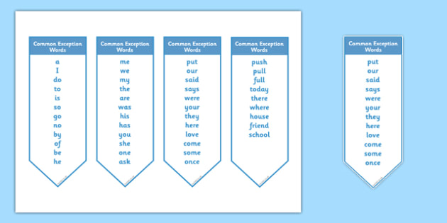 Common Exception Words Year 1 Bookmark Editable - common exception words, year 1, bookmark, editable