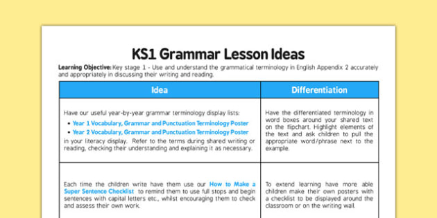 Lesson Ideas Keystage 1: Use and Understand the Grammatical Terminology in Appendix 2