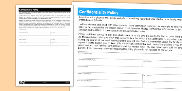 Childminder Confidentiality Policy - child minder, rule, policies