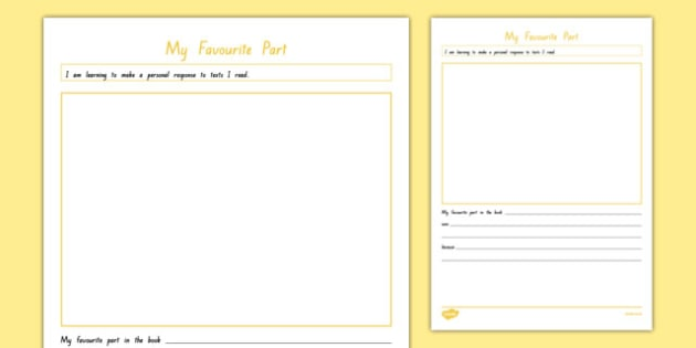 My Favourite Part Activity Sheet, worksheet