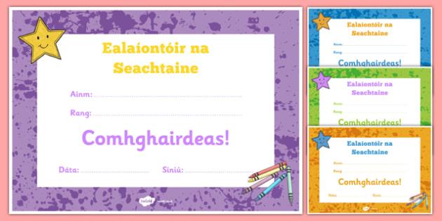 Ealaíntóir na Seachtaine Certificate Gaeilge