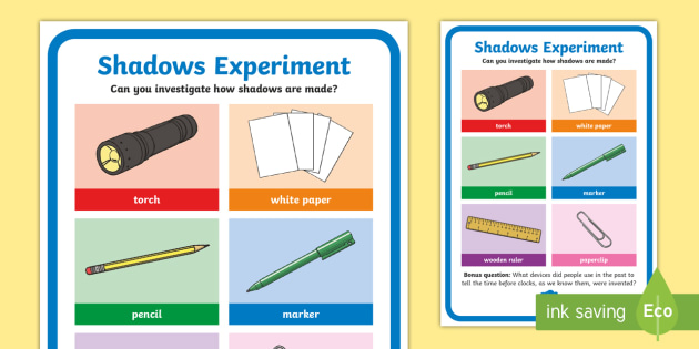 Science Light and Shadows Investigation Prompt Display Poster - science, SESE, investigation, experiment, equipment, resources, open-ended, prompt question, procedu