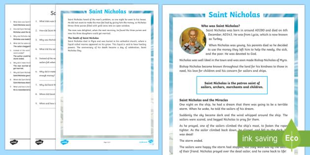 KS2 Saint Nicholas Differentiated Reading Comprehension Activity