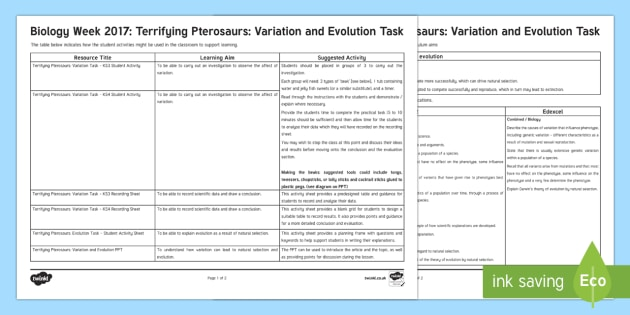Terrifying Pterosaurs: Variation and Evolution Teaching Ideas - Biology Week, variation, evolution, darwin, mutation, natural selection, genetic, variation, gene, g