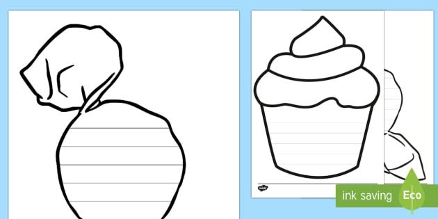 Cupcake Sweet Writing Frames - cupcake, sweet, writing frames, write, frame
