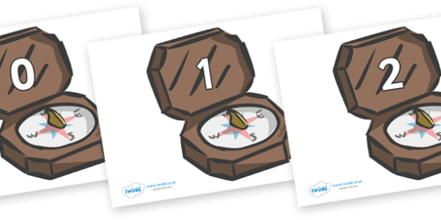 Numbers 0-31 on Compasses - 0-31, foundation stage numeracy, Number recognition, Number flashcards, counting, number frieze, Display numbers, number posters