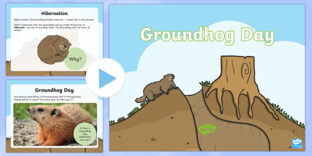 Groundhog Day Informational PowerPoint - US, America, event, holiday, Feb 2, February 2