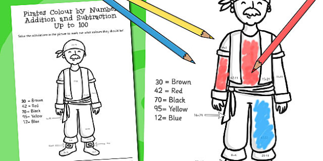 Pirates Colour by Number Addition and Subtraction Up to 100
