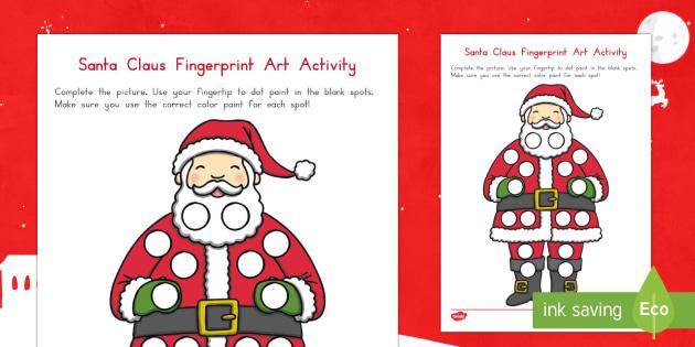 Santa Fingerprint Art Activity Sheet