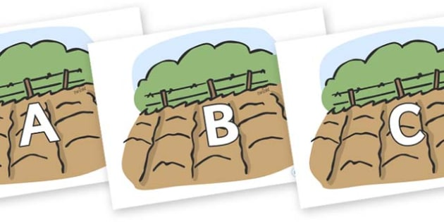 A-Z Alphabet on Farm Fields - A-Z, A4, display, Alphabet frieze, Display letters, Letter posters, A-Z letters, Alphabet flashcards