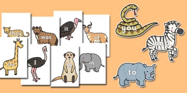 100 High Frequency Words On Safari Animals - phonics, letters and sounds, reading, writing, animals, KS1, key stage 1
