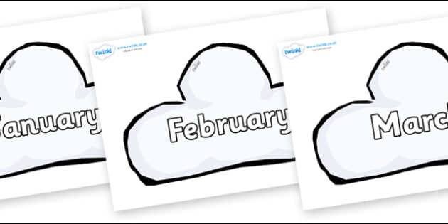 Months of the Year on Weather Symbols (Cloud) - Months of the Year, Months poster, Months display, display, poster, frieze, Months, month, January, February, March, April, May, June, July, August, September