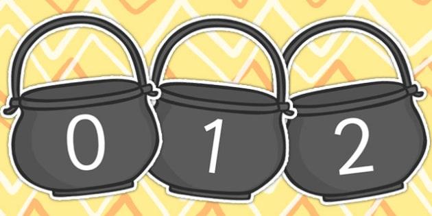 0 20 on Porridge Pots - numbers, number display, porridge pot