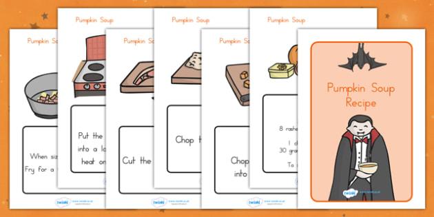 Halloween Pumpkin Soup Recipe Sheets - halloween, recipe, pumpkin