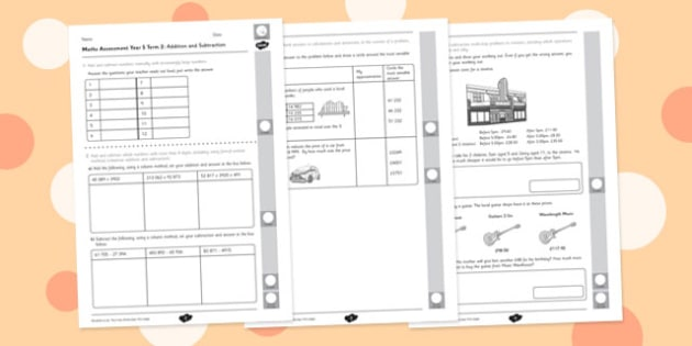 Year 5 Maths Assessment: Addition and Subtraction Term 2 - year 5, maths, assessment, addition, subtraction