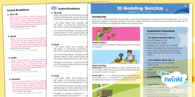 Computing: 3D Modelling SketchUp Year 5 Planning Overview CfE