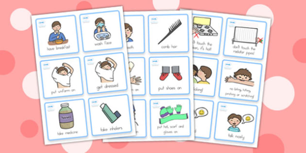 Special Needs Communication Cards Daily Routine Boy - cards, boys