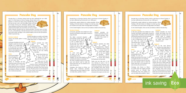 KS2 Pancake Day Differentiated Reading Comprehension Activity