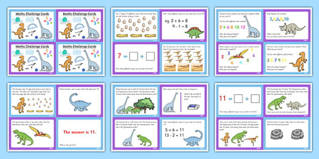 Dinosaur Themed KS1 Maths Challenge Cards - maths, challenges