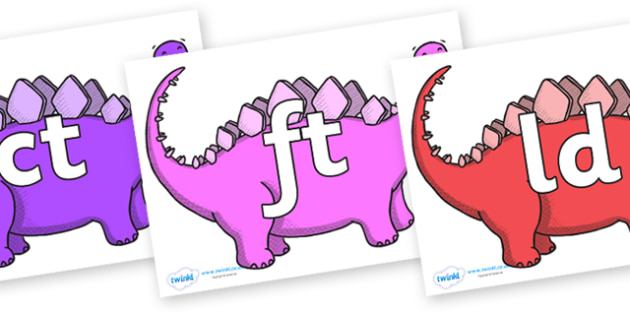 Final Letter Blends on Stegosaurus - Final Letters, final letter, letter blend, letter blends, consonant, consonants, digraph, trigraph, literacy, alphabet, letters, foundation stage literacy